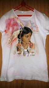 Detské oblečenie - Detské tričko s krátkym rukávom s indiánskym dievčatkom - 10358985_