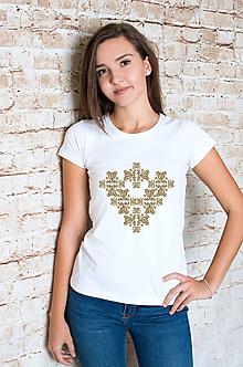 Tričká - Srdce - folklórny motív - 10355972_