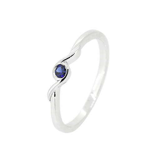 Prstene - Zafírový prstienok z bieleho zlata - 10357285_