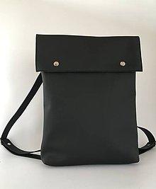 Batohy - Černý kožený batoh - 10358821_