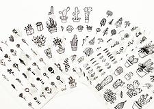 Papier - Kaktus & rastlinky set - nálepky - 10357189_