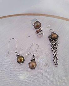Sady šperkov - Strieborná súprava s perlami (Perly medenej farby) - 10357182_