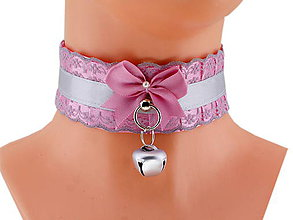 Náhrdelníky - Obojok čipkový obojok hranie mačka lolita kawaii gothic pastel, kitten play collar BDSM DDLG pet play collar 47 - 10362118_