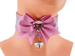 Náhrdelníky - Obojok čipkový obojok hranie mačka lolita kawaii gothic pastel, kitten play collar BDSM DDLG pet play collar 43 - 10362131_
