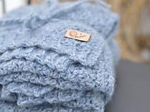 Textil - Detská deka AKO VÁNOK: modrý melír - 10360387_