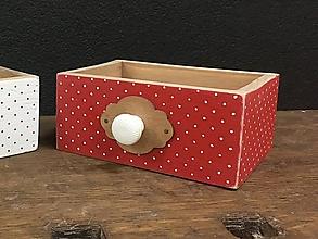 Nábytok - Šuplíček bodky červená a biela (Červená) - 10359881_