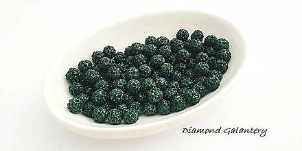 Korálky - Shamballa korálky jednodierkové - náušnicové - Tmavo zelené - 10360770_