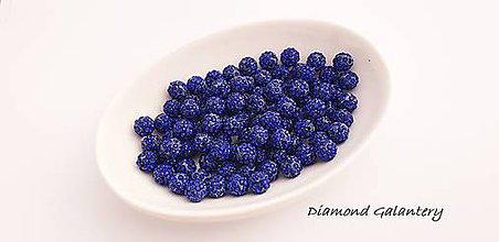 Korálky - Shamballa korálky jednodierkové - náušnicové - Kráľovská modrá - 10360777_