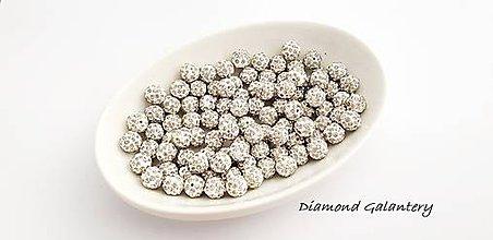 Korálky - Shamballa korálky jednodierkové - náušnicové - Crystal - 10361191_