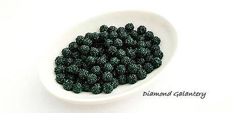 Korálky - Shamballa korálky 10 mm - Tmavo zelené - 10361783_