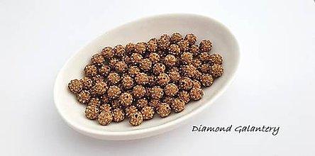 Korálky - Shamballa korálky 10 mm - Zlatohnedé - 10361827_