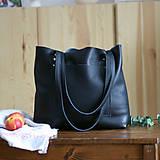 Nákupné tašky - Nina (kožená taška čierna) (Kabelka so zipsom) - 10360276_