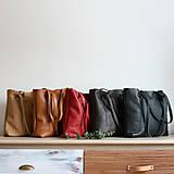 Nákupné tašky - Nina (kožená taška čierna) (Kabelka so zipsom) - 10360279_