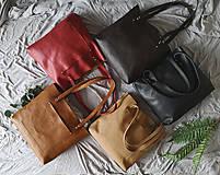 Nákupné tašky - Nina (kožená taška čierna) (Kabelka so zipsom) - 10360280_