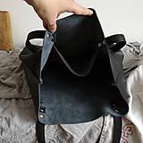 Nákupné tašky - Nina (kožená taška čierna) (Kabelka so zipsom) - 10360281_