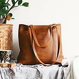 Nákupné tašky - Nina (kožená taška hnedá) - 10361697_