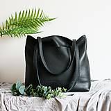 Nákupné tašky - Nina (kožená taška čierna) (Kabelka so zipsom) - 10361807_