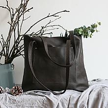 Nákupné tašky - Nina (kožená taška tmavohnedá) - 10359215_