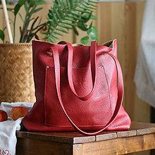 Nákupné tašky - Nina (kožená taška červená) - 10359243_