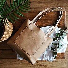 Nákupné tašky - Nina (kožená taška béžová) - 10360680_