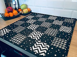 Úžitkový textil - Obrus ČIERNO-BIELY - 10359586_
