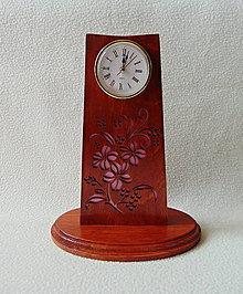 Hodiny - Drevené hodiny Ružové kvety - 10359829_