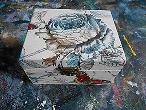 Krabičky - Drevenná šperkovnička - dekupáž - modrobiela - 10360047_