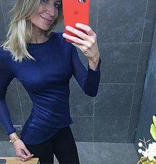 Tričká - Tričko modré s asymetrickou délkou - 10359493_