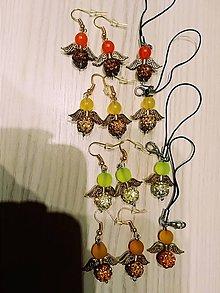 Náušnice - Náušničky anjelikovia +kľúčenky v zlatom - 10360995_