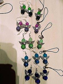 Náušnice - Náušničky anjelikovia + kľúčenky v striebornom - 10361014_
