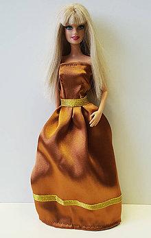 Hračky - Bronzové spoločenské šaty pre Barbie - 10361870_