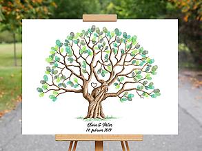 Grafika - Olivia - Svadobný strom na odtlačky prstov - 10360638_