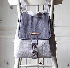 Batohy - Ľanový midi batôžtek *šedý* - 10359306_