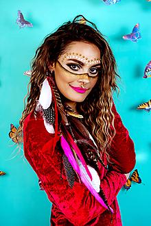 Ozdoby do vlasov - Ružový bohémsky festival hair clip - 10362092_