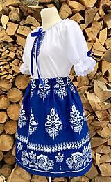 Šaty - Folklórny dámsky kroj modrý 3 - 10359552_