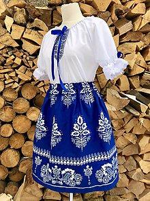 Šaty - Folklórny dámsky kroj modrý 3 - 10359554_