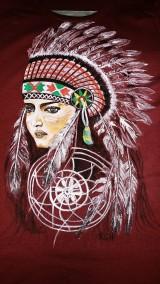 Tričká - Dámske tričko maľované  s indiánskym motívom - 10359695_