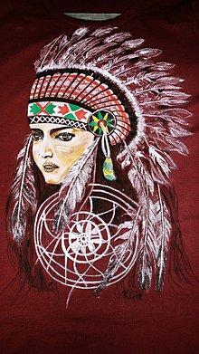 Tričká - Dámske tričko s indiánskym motívom - 10359695_