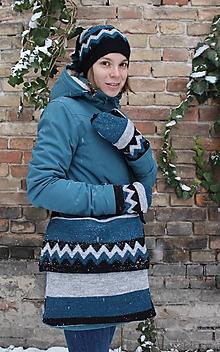 Čiapky - Cik-cak súprava zo svetra (taška, čiapka, rukavice) - 10360846_