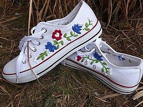 Obuv - vyšívané tenisky-FOLK biela,modrá,červená - 10359291_