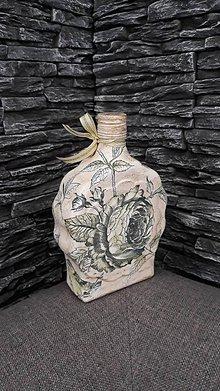 Nádoby - Fľaša s ružou - 10361453_