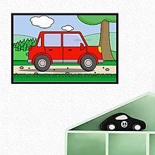 Grafika - Auto v prírode - digitálna grafika do detskej izbičky (s okrajmi) (hranaté päťdverové) - 10359118_