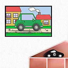 Grafika - Auto na dedine - digitálna grafika do detskej izbičky (s okrajmi) (hranaté trojdverové) - 10359119_