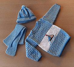 Detské súpravy - Štrikované detské oblečenie pre chlapca s loďkou - 10360489_