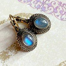 Náušnice - Antique Gold Blue Labradorite Earrings / Starozlaté náušnice s modrým labradoritom /1485 - 10365786_
