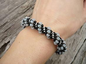 Náramky - Náramok čierno-šedý...špirála - 10366221_