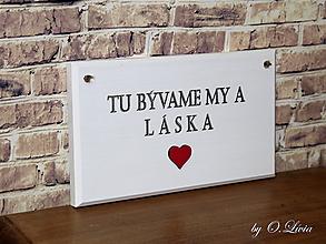 Tabuľky - Ceduľka biela  (Tu bývame my a láska) - 10365843_