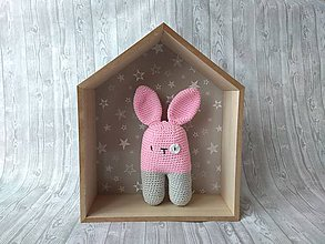 Hračky - Háčkovaný zajačik (Ružovo sivý zajko) - 10366148_