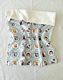 Textil - Detská deka do postieľky (Zvieratká na oceľovej+Ivory minky) - 10366302_