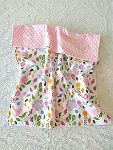 Textil - Detská deka do postieľky (Farebné kvety + Blush minky) - 10366313_